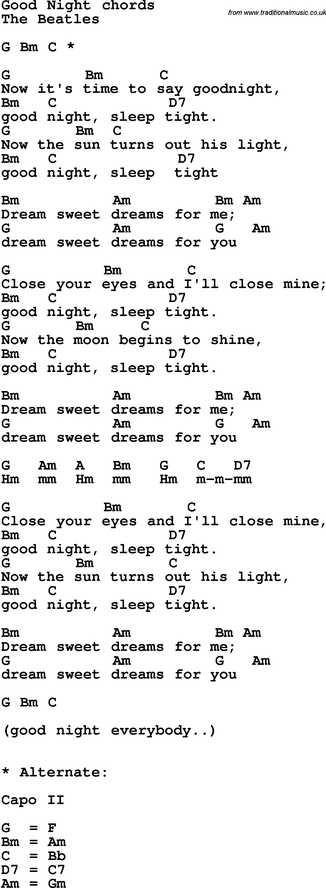 Tab Et Paroles De Good Night De The Beatles